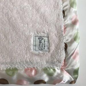Little Giraffe Baby Blanket Polka Dot Pink Brown